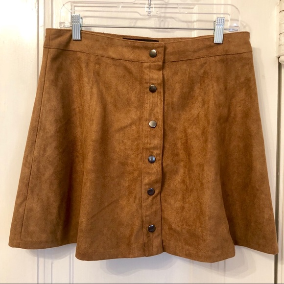 8f32ca4daa evelyn blue Skirts | Faux Suede Camel Snap Front Skirt | Poshmark